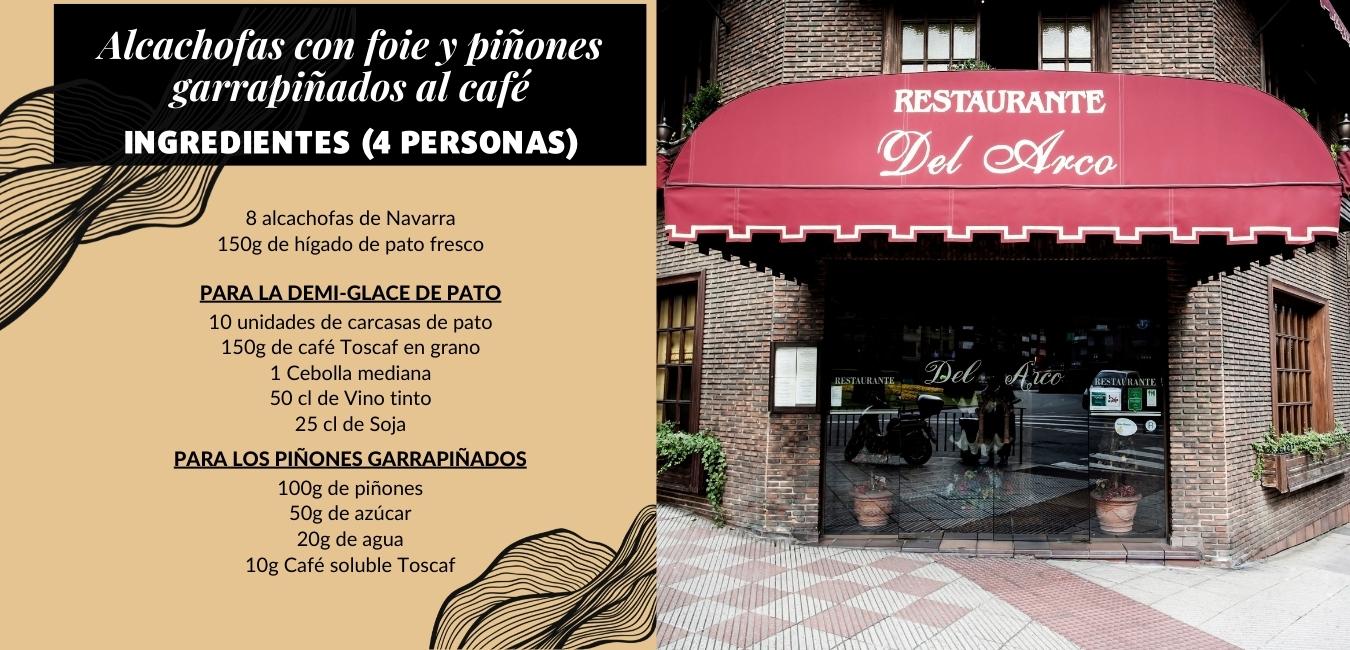 Alcachofas con foie y piñones garrapiñados al café :: Ingredientes