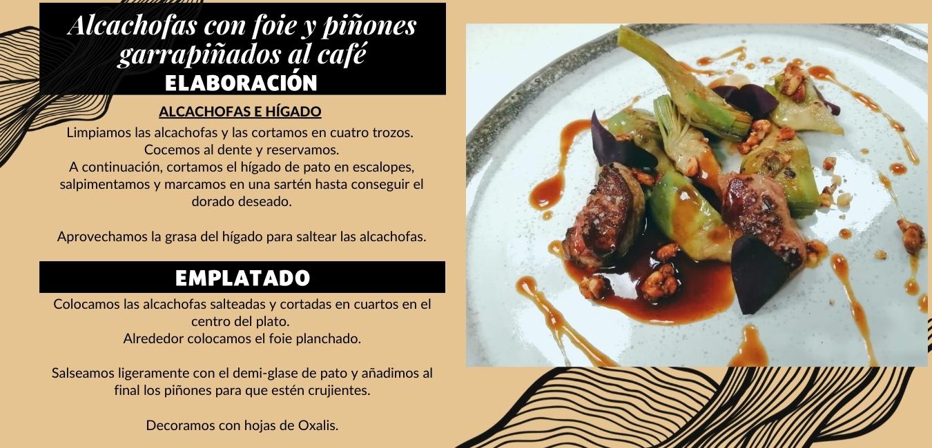 Alcachofas con foie y piñones garrapiñados al café :: Cocina con FOCO y Toscaf