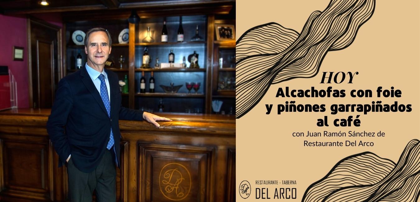Alcachofas con foie y piñones garrapiñados al café
